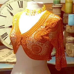 Jackets & Blazers - Pretty Orange Glittery Lace Crotchet Shrug Sz S